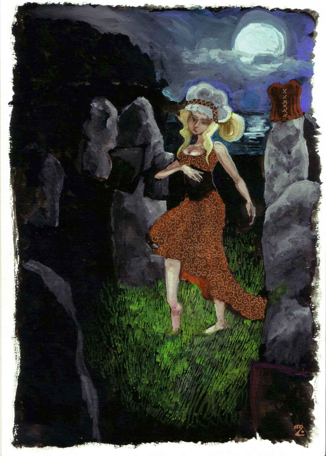 A girl dancing amongst standing stones at night under the moonlight.
