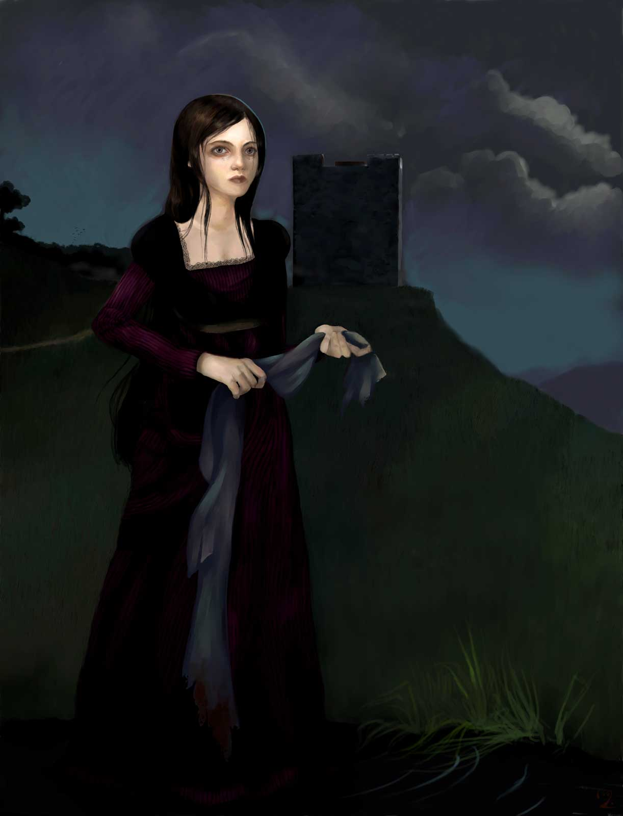 A ghost in purple dress washing a bloody shroud by the river as a death omen.