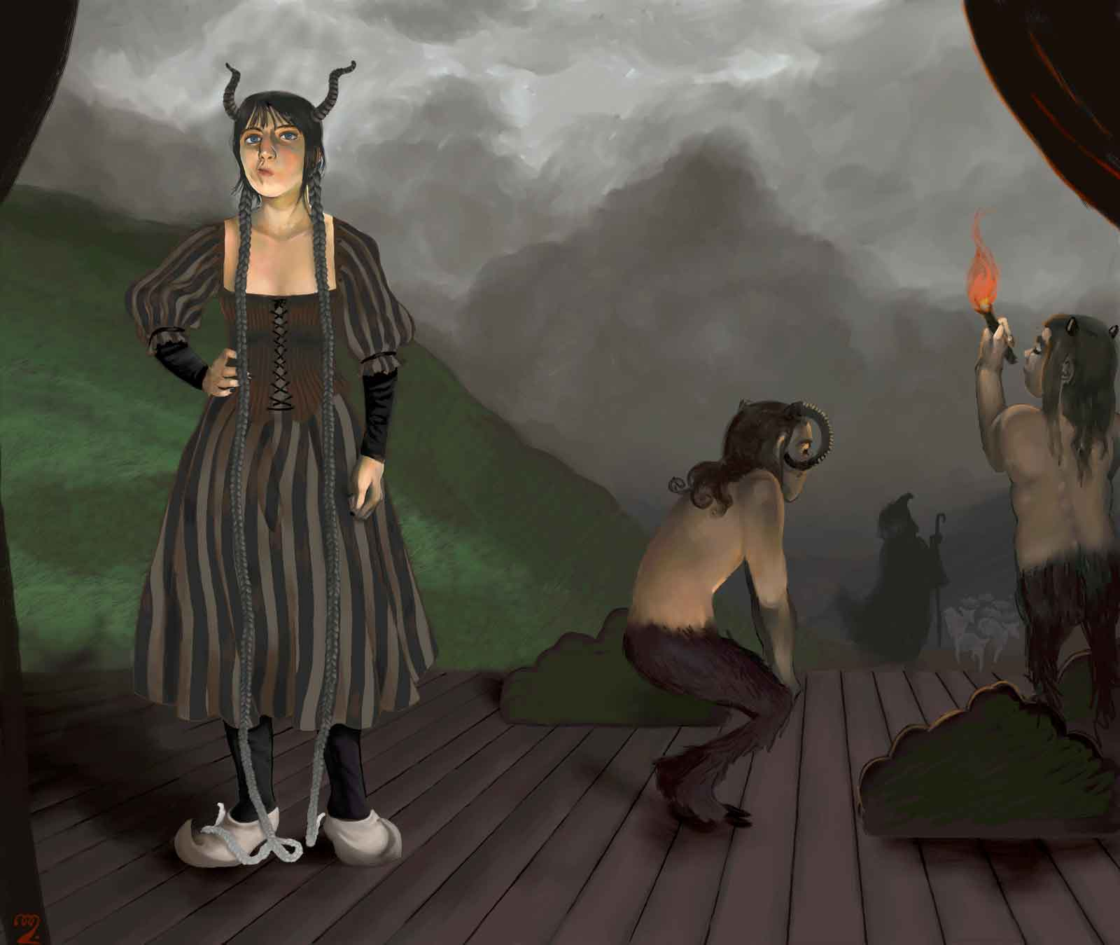 Surreal painting of a theatre stage with a shepherd coming on straight from the painting of the background, watched by two fauns and with a grey-haired girl standing on the left.