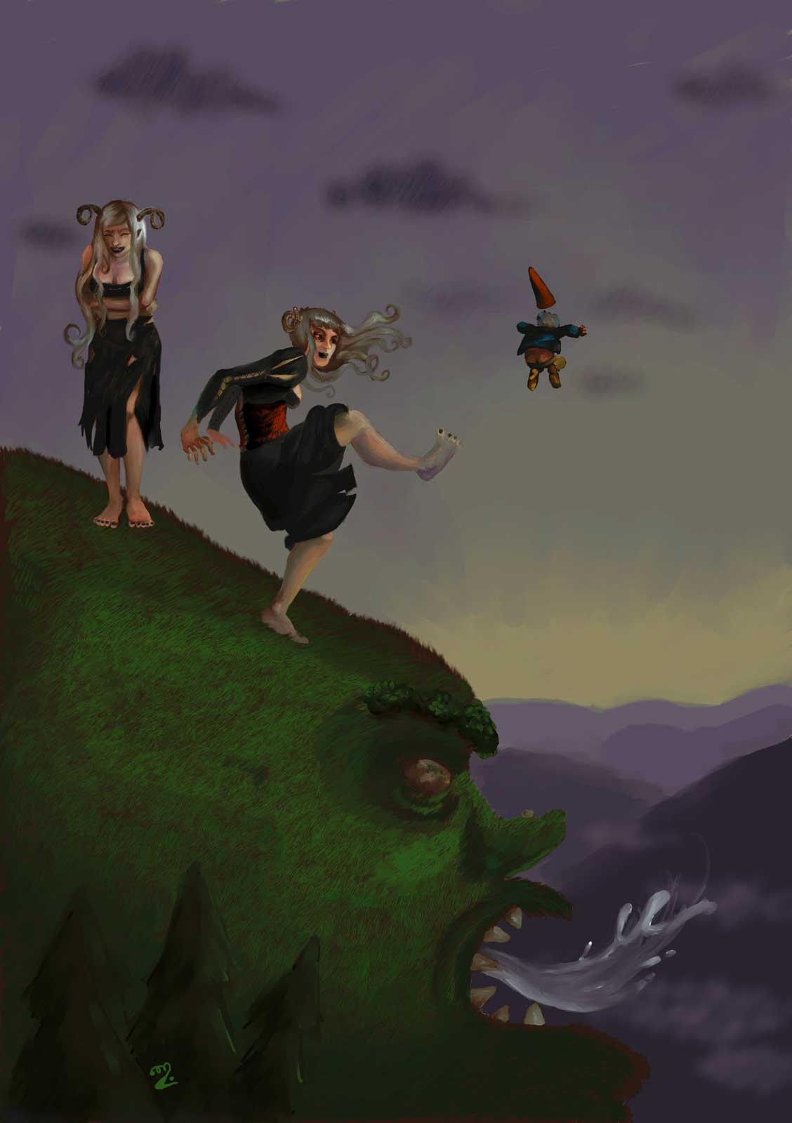 Two bad fairies (gwyllions) throwing a gnome from the grassy top of a hungry mountain troll.