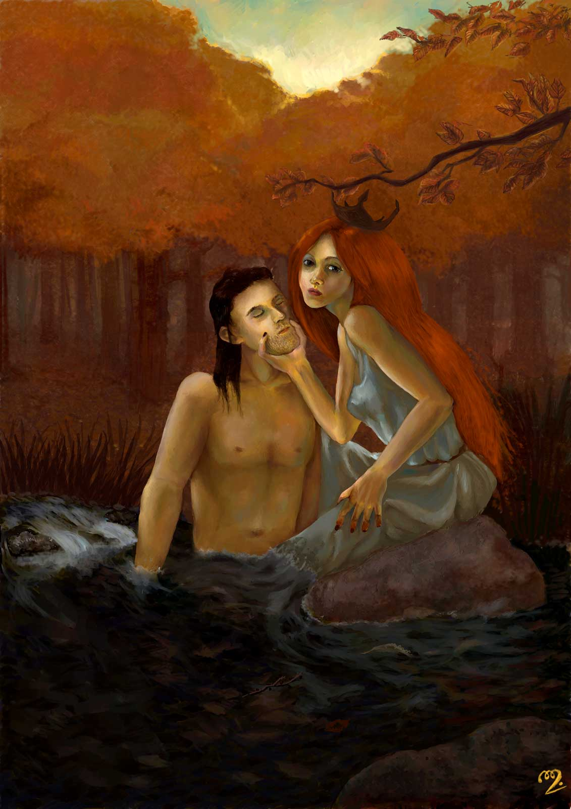 A red-haired rusalka entraps a man in the midst of a river in the autumnal woods at sunset.