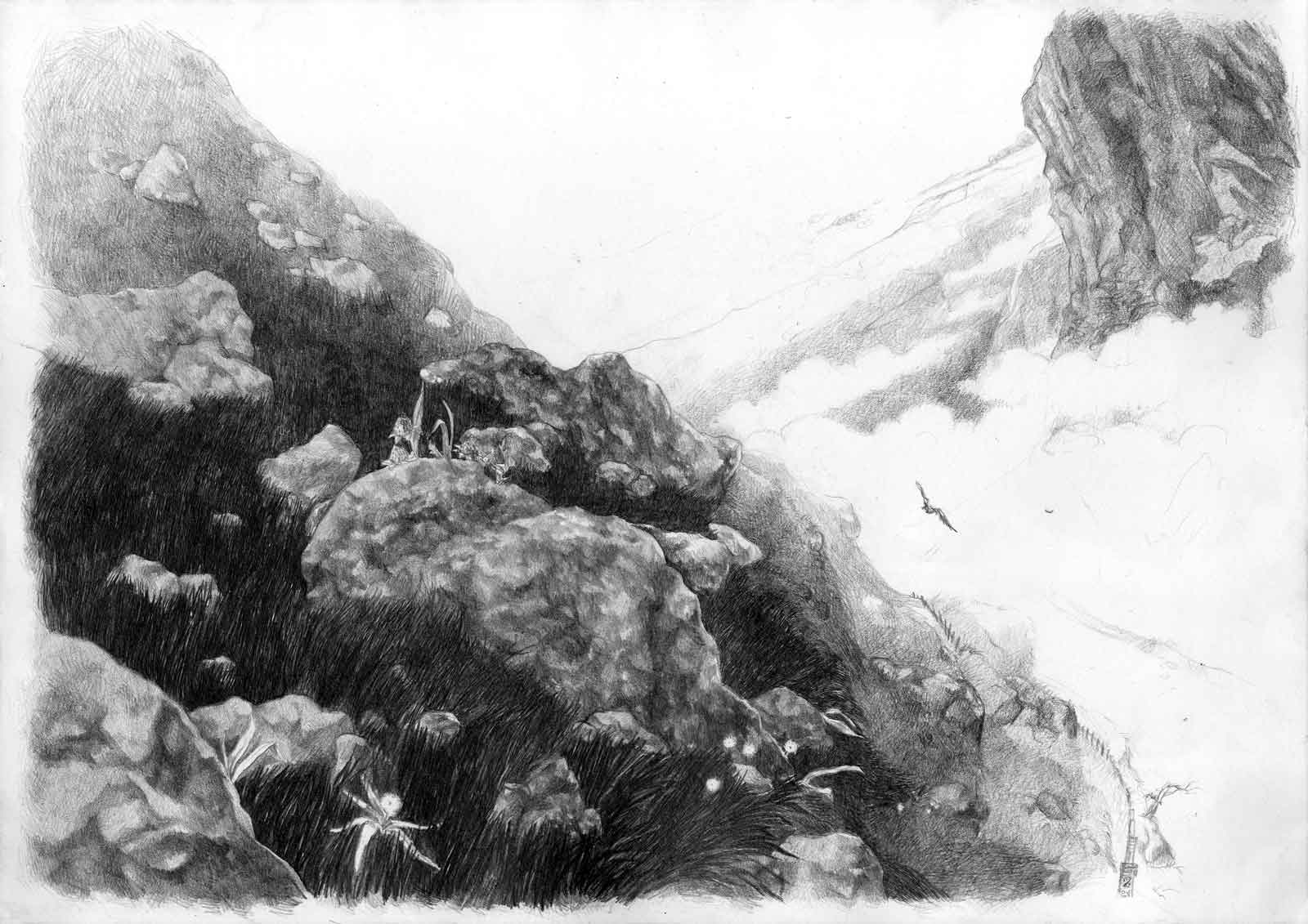 A close view upon a mountain complete with rocks, moutain plants and en eagle, and a sea of clouds.