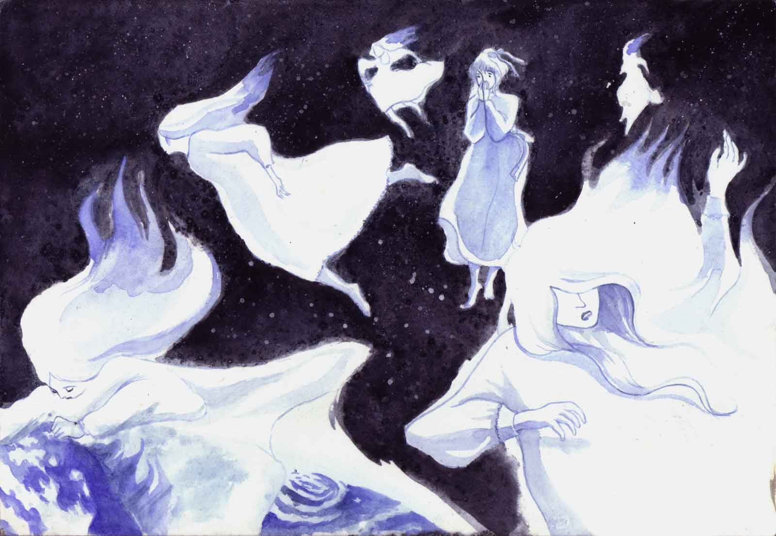 Falling stars incarnated in women are burning when they enter the atmosphere of Earth, all but one that stops for an instant as she is horrified by her fate