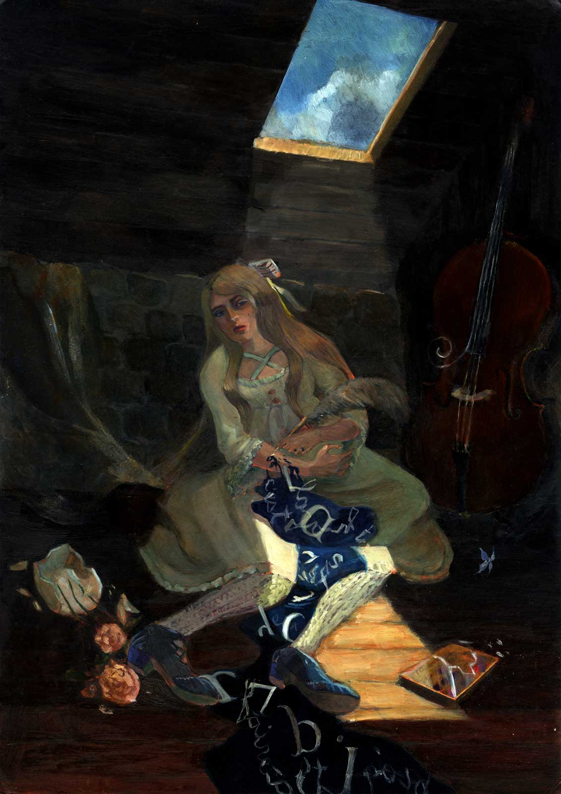 In the attic a young woman in lolita fashion is opening her wrist with a quill allowing a flow of blue ink and letters.