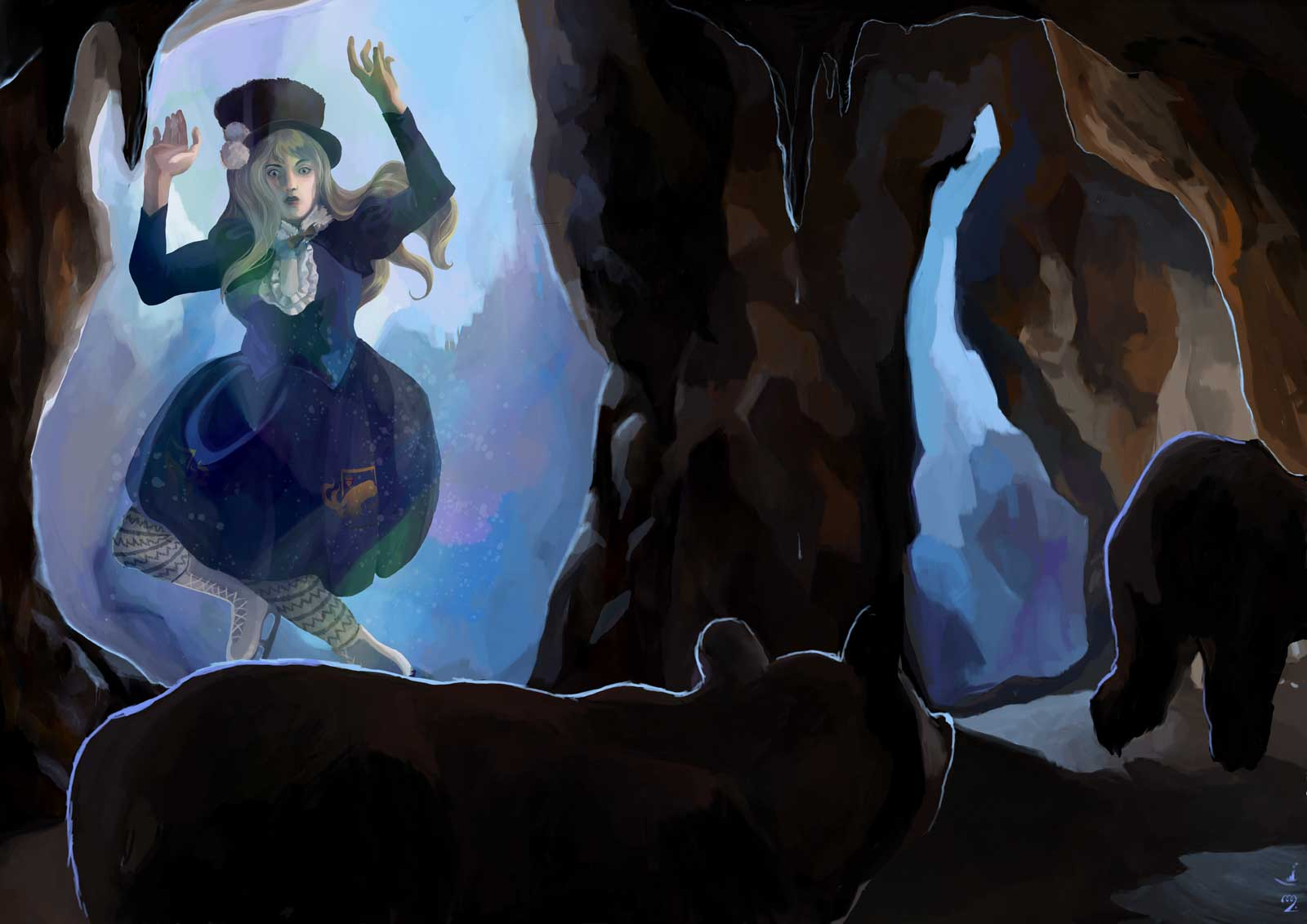 A ice-skater lolita that has become prisoner of ice is seen through 'windows' in a cave inhabited with bears.