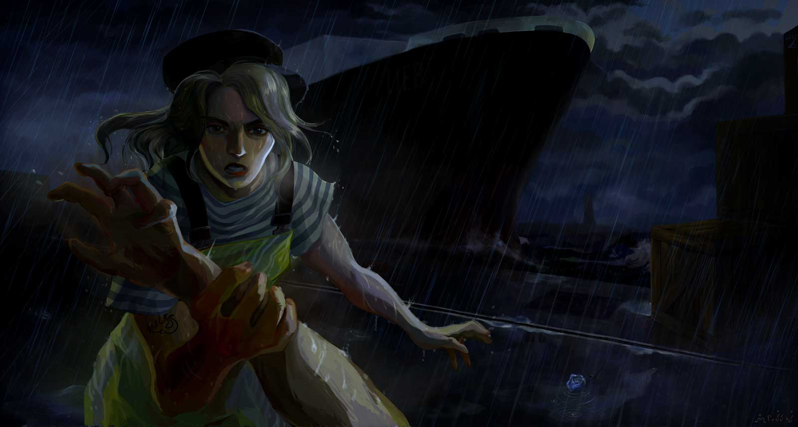 An angry sailor is crushing the arm of an unknown person on a rainy night at the docks.