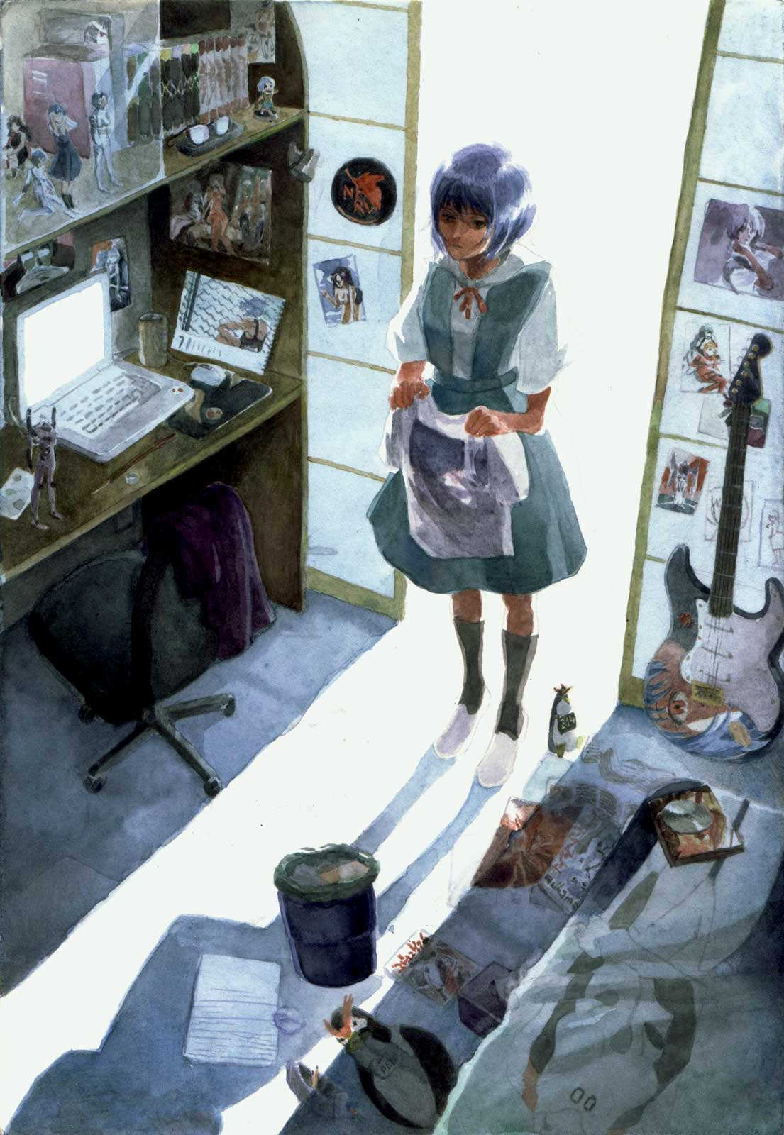 Introspective fanart of Neon Genesis Evangelion's character Rei Ayanami if she was faced with an actual collection about her in an otaku's room.