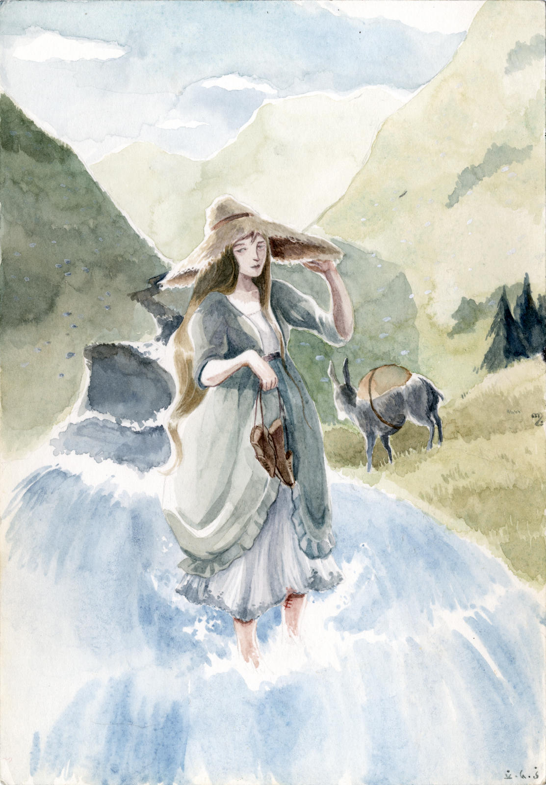 A travelling girl with a large straw hat is standing in the midst of a mountain torrent holding her shoes, her donkey with her belongings already on the other side.