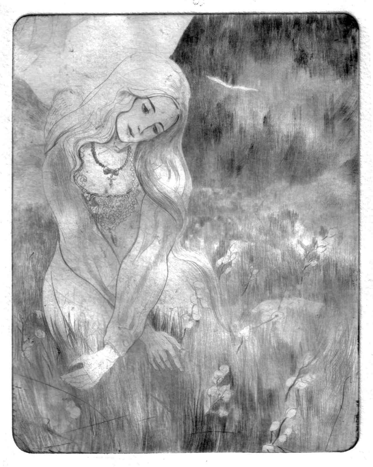 A lavish young woman crosses a humid valley in the mountains populated with cotton.