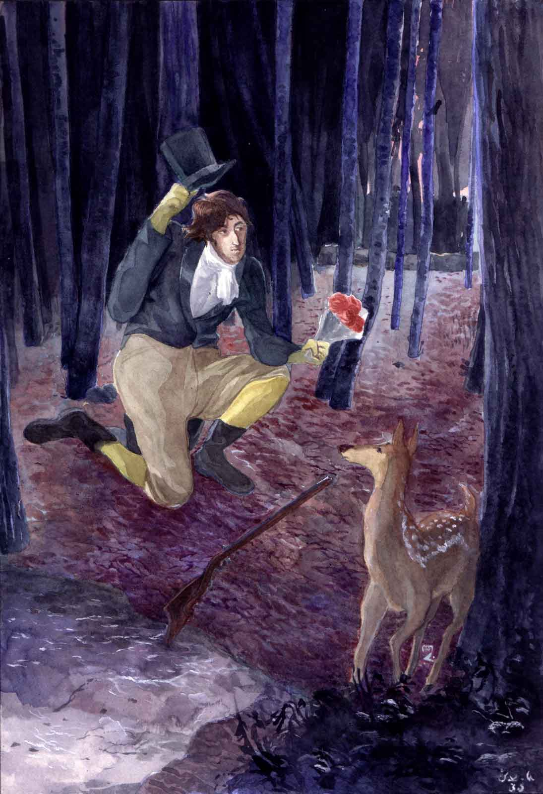 A hunting gentleman in the early 1800s hands over a flower bouquet to a deer in a frozen forest at nightfall.