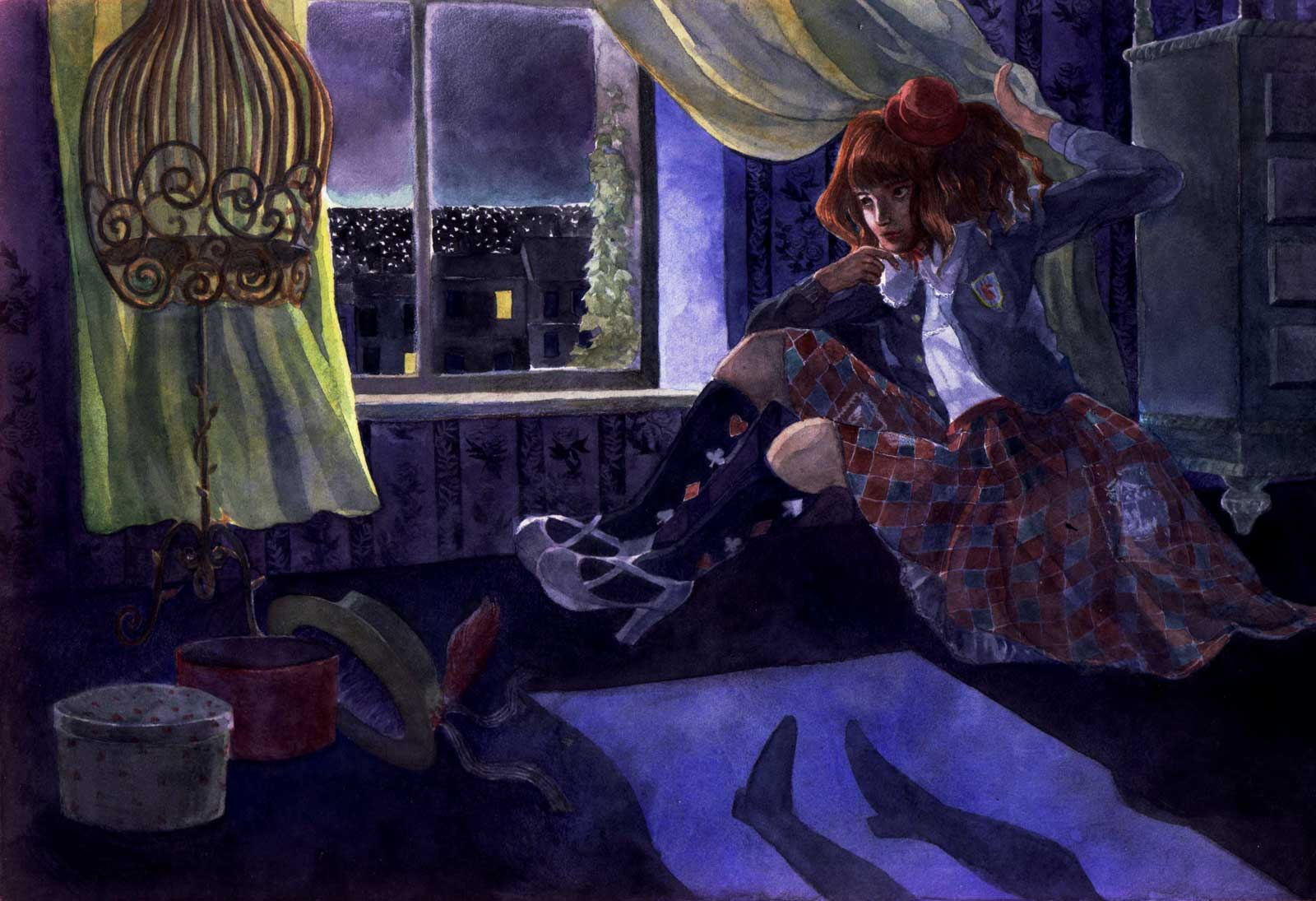 A classic lolita in a check tiles patterned skirt is holding the curtains at night of her bedroom to reveal the shadow of Peter Pan on the floor.