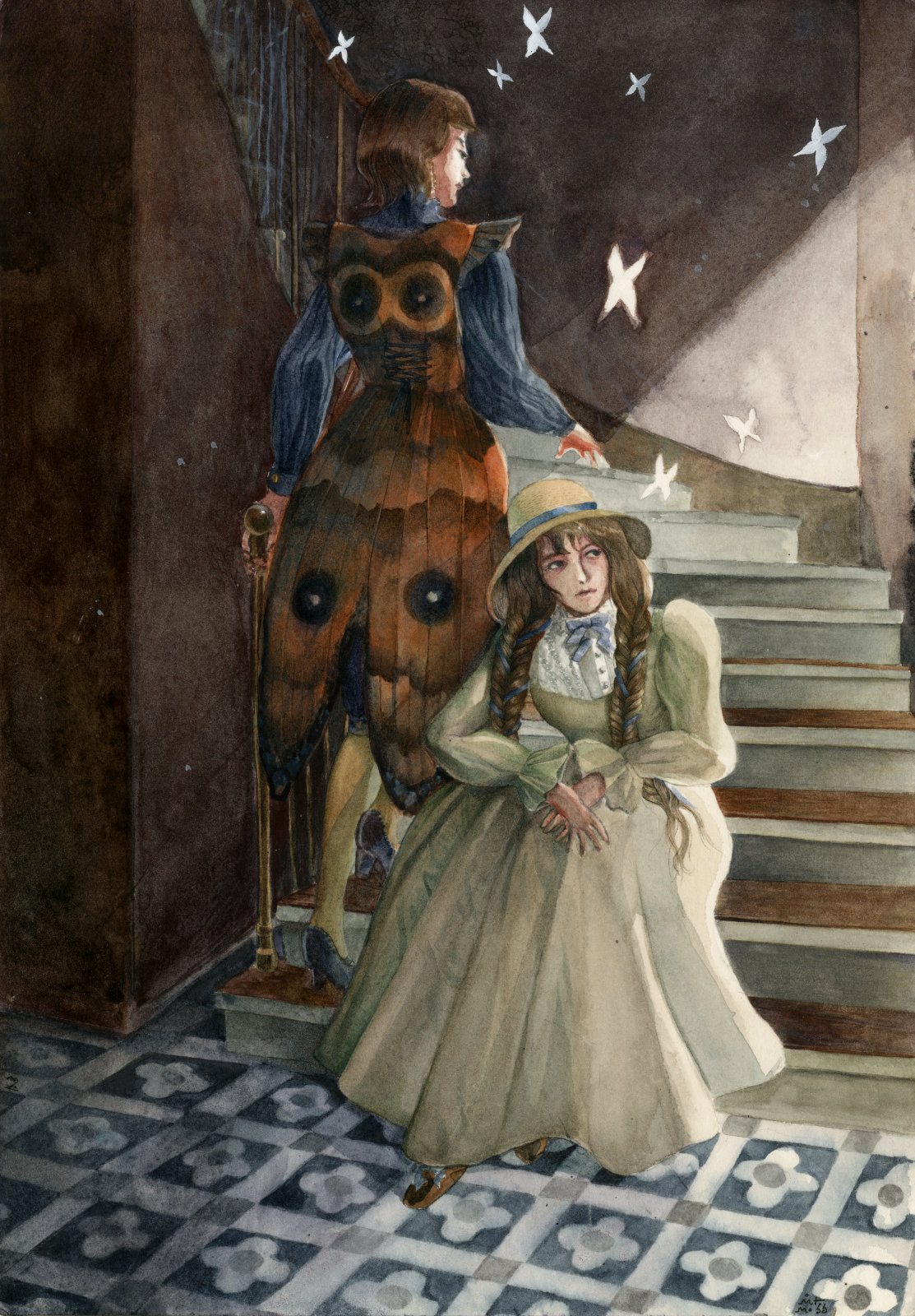 Two women, one in an edwardian dress, the other one in a jacket that looks like a butterfly, are sitting in the hall of an old building with pretty tiles on the floor.