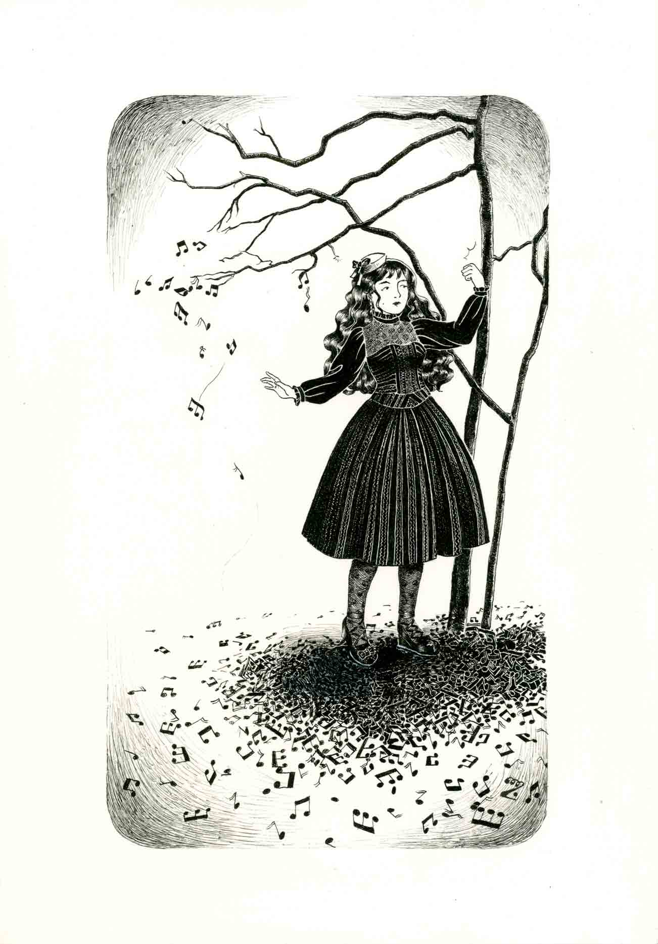 Black and white depiction of a classic lolita in a dress inspired by dolce piu amabile is gently knocking on a musical tree with the result of musical keys falling on the floor.