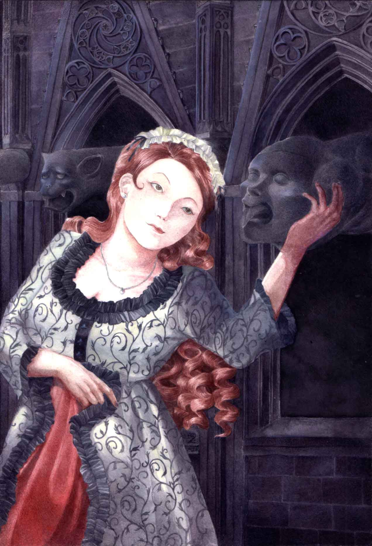 Portrait of a lady in a medieval inspired gown holding a gargoyle in front of a cathedral.