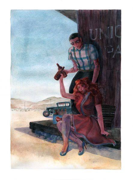 watercolour fanart of rockabilly characters Violette and Peter from Burlesque Girrrl by François Amoretti drinking beers in the Death Valley