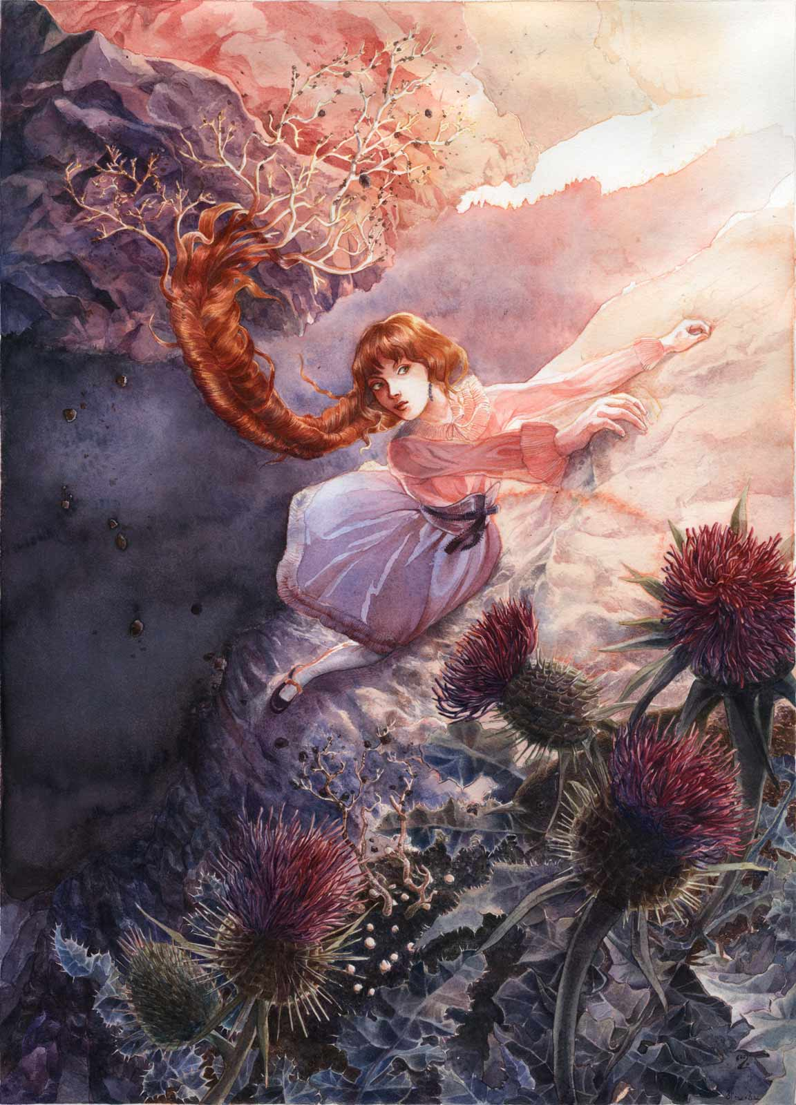 A woman — a mandragora — in lolita fashion clothing descending a cliff in Scotland, her long braid of auburn hair pulling out of a bed of thistles, at the golden hour