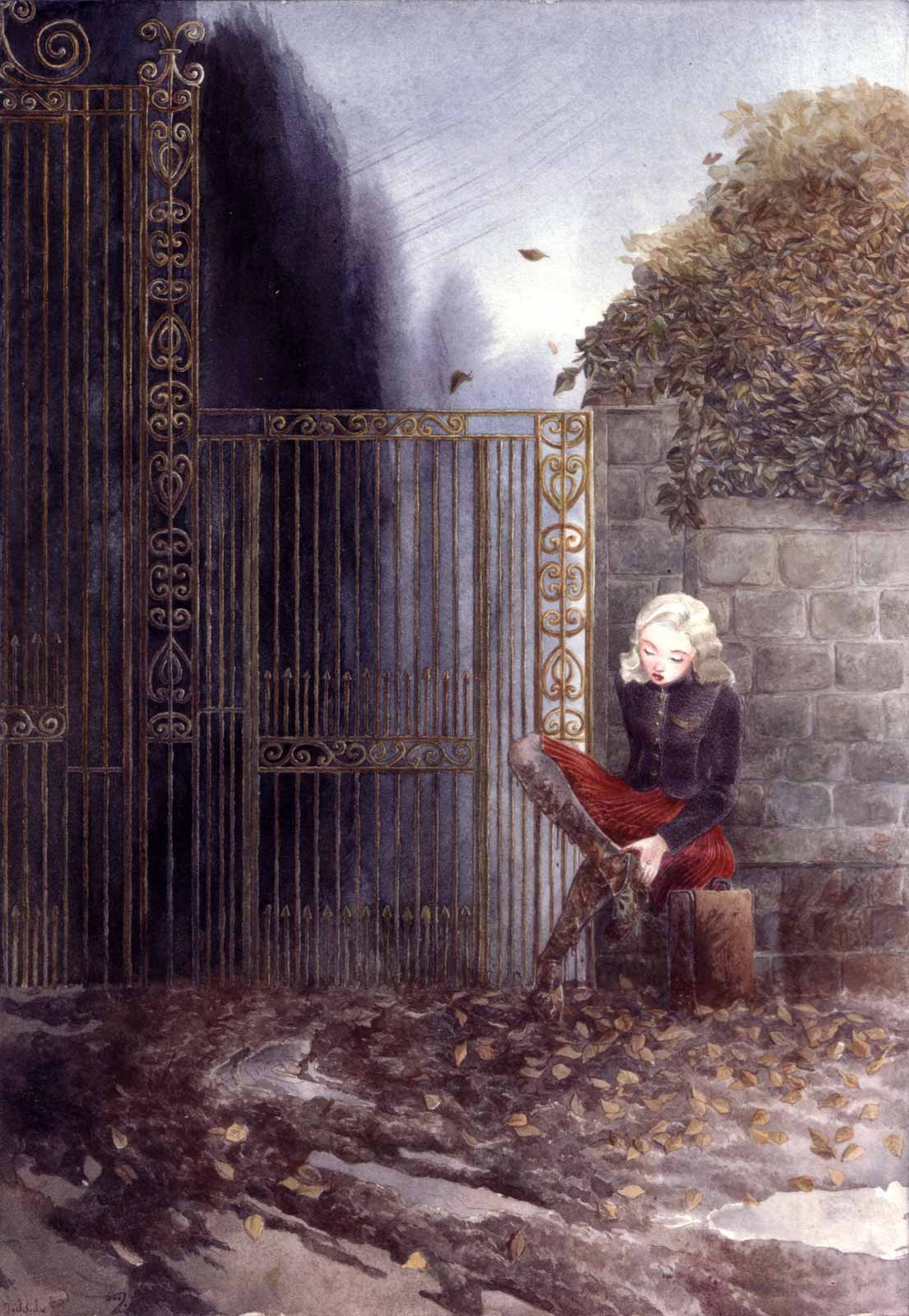1940s, a muddy winter day, a woman in a red velvet skirt is sitting outside the iron gate of a big mansion with her suitcase.