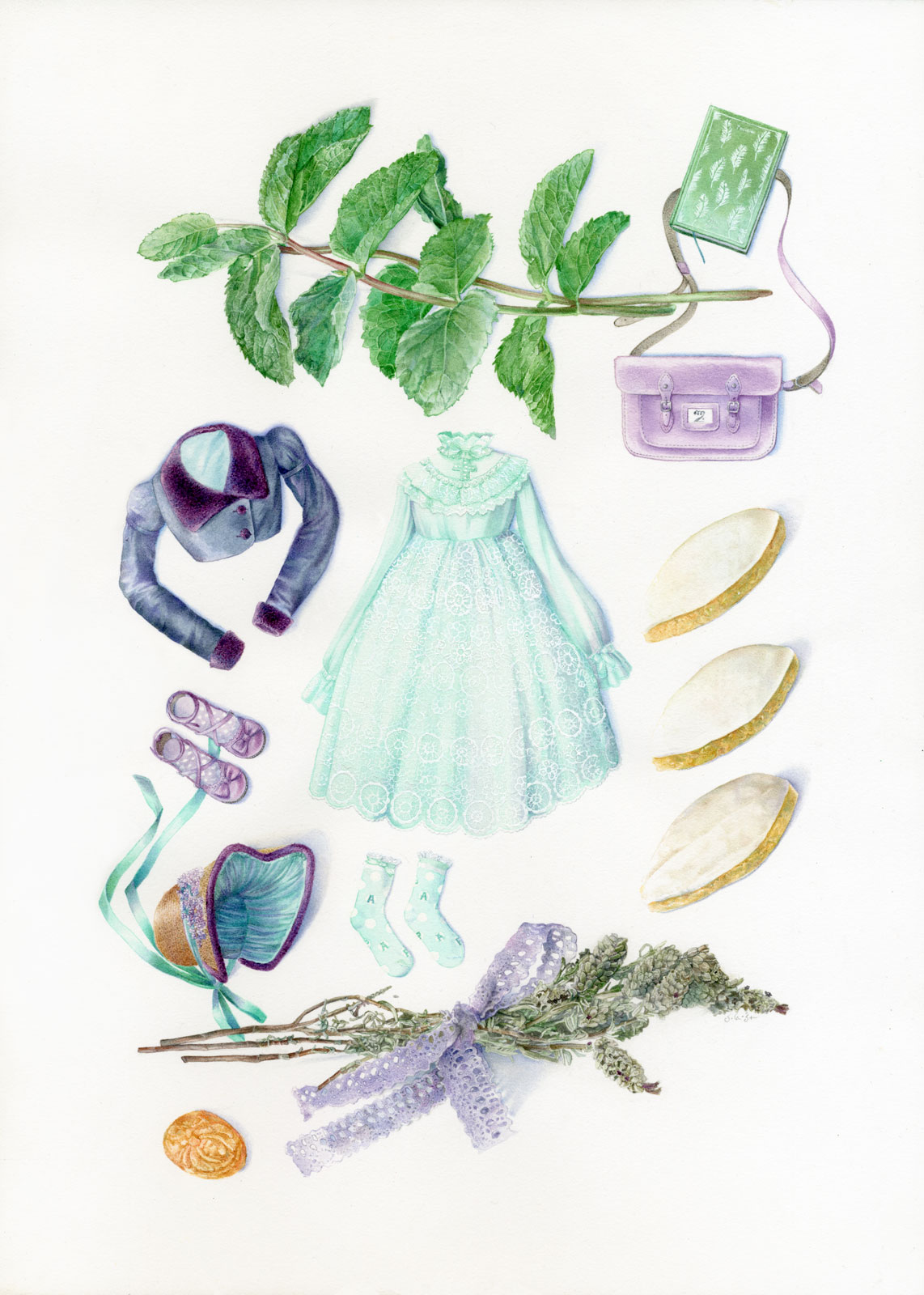 Technical illustration of a herbarium made up with fashionable lolita clothing from Angelic Pretty mixed with antique accessories, and a provencal theme (calissons, lavender, mint) with additional references to England and Jane Austen.