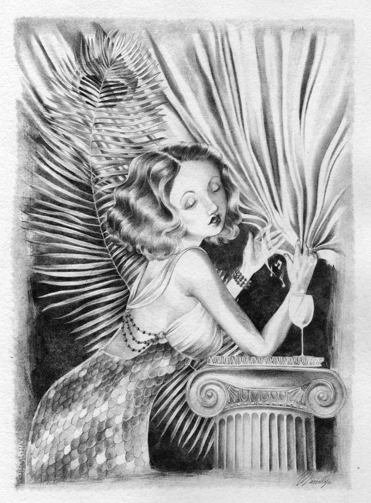 A Golden Age Hollywood actress in a gown with scales toying with a silver curtain like a mermaid playing the harp.