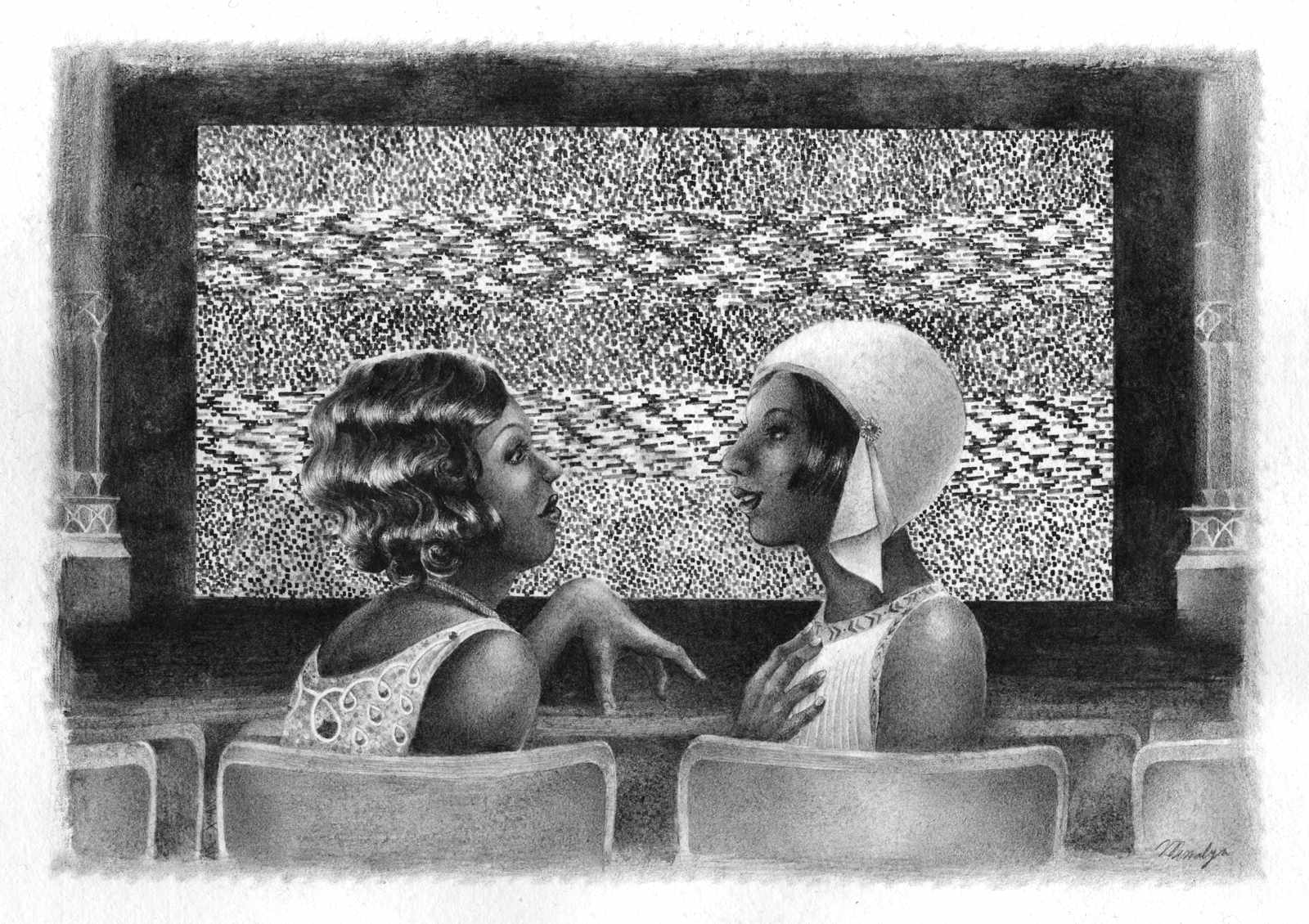Conversation between two flappers at the movies in the 1920s, dark-skinned ladies in front of a screen of white noise.