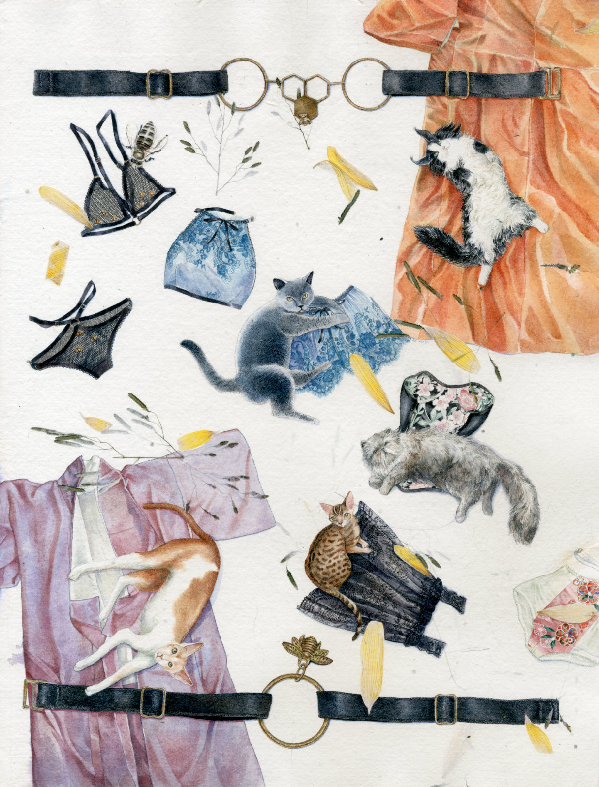 Technical illustration of a so-called herbarium based on lingerie brand Karolina Laskowska and painted for a contest, with kimonos, lounging cats, bras, panties, a corset and a lace camisole, with inclusions or real florals unto the paper.