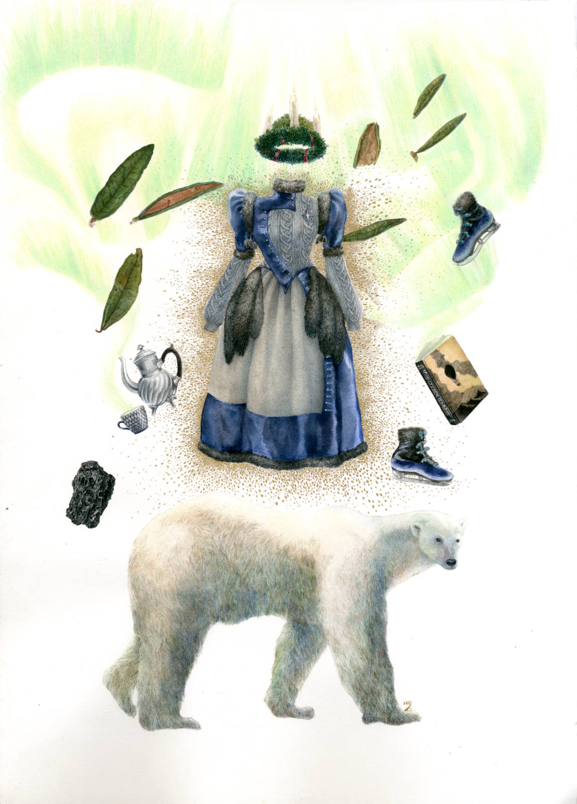 Technical illustration of a herbarium made up with fashionable lolita clothing, and an overall northern theme : polar bear, labrador tea leaves, sankt lucia krona, vintage russian tea set, the golden compass by Philip Pullman, ice skates and a wool and velvet dress trimmed with fur