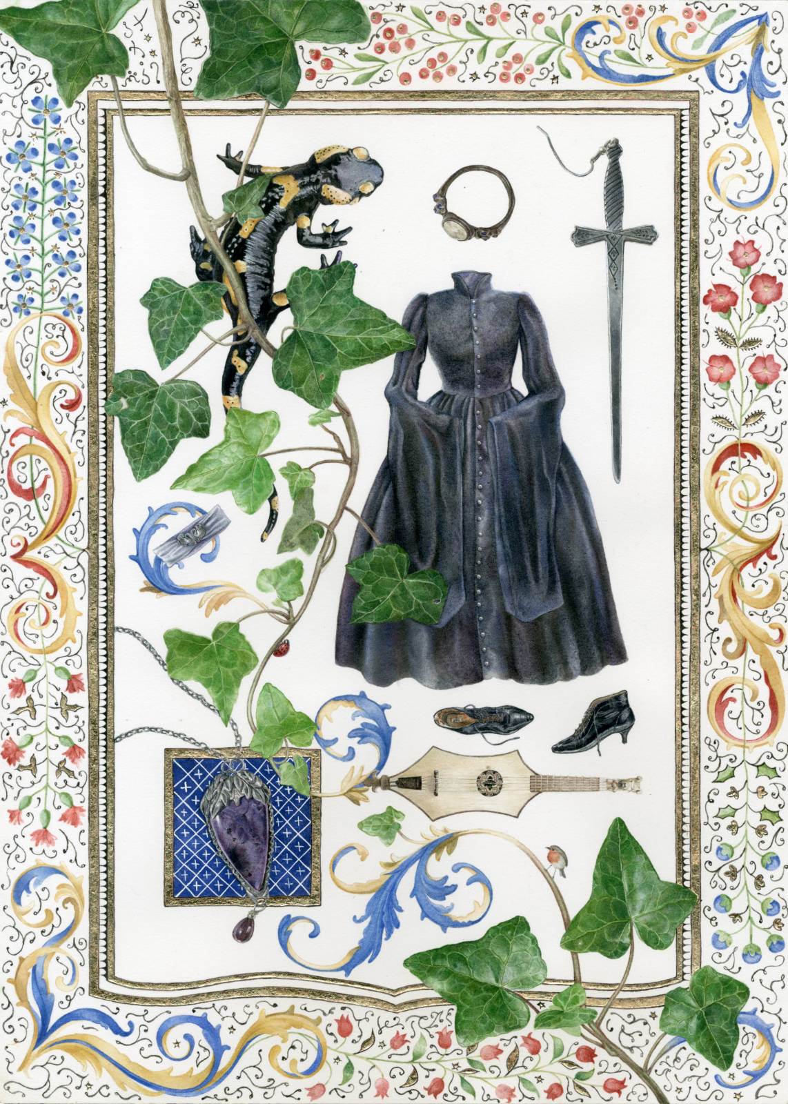 Technical illustration of a herbarium made up with fashionable lolita clothing, and an overall medieval theme : salamander, ivy, illuminations, clothing and jewellery inspired by chivalry, troubadours, sorcery and myths